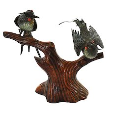 Chinese Sterling Silver Enamel 2 Bird Coral Bead Eyes Wood Carved Carving Stand