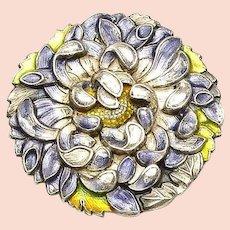 1930's Japanese Sterling Pure Silver Enamel Belt Buckle Chrysanthemum Jungin 純銀
