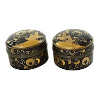 Pair of 19C Japanese Makie Lacquer Wood & Pewter Tea Caddy Kogo Box