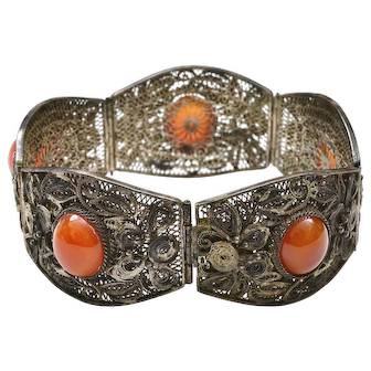 Old Chinese Silver Filigree Agate Carnelian Bead Bracelet Bangle Mk