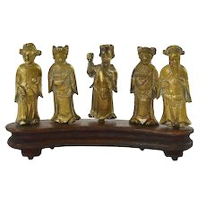 1930's Chinese Bronze Miniature Immortal Buddha God Figure Figurine Wood Stand