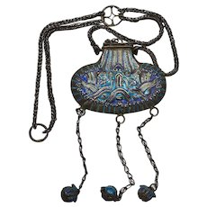 1930's Chinese Silver Enamel Perfume Pouch Necklace