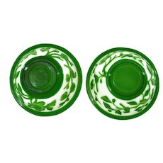 Pair Old Chinese Green Overlay Peking Glass Bowl with Bird Marked