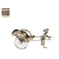1930's Chinese Silver Miniature Rickshaw Puller Figure Figurine Mk