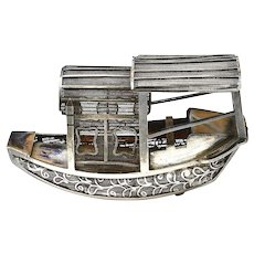 1930's Chinese Silver Filigree Miniature Junk Boat Ship Marked 永盛隆