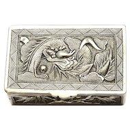 1900's Chinese Silver Pill Box Dragon Plum Blossom Flower Bamboo Bat