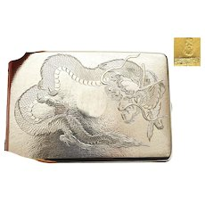 "Old Chinese Sterling Silver Cigarette Card Case Dragon Marked ""Silver"""