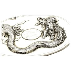Old Chinese Export Sterling Silver Vanity Mirror Brush with Dragon Marked 華信