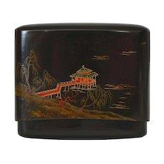 1900's Japanese Makie Lacquer Card Cigarette Case Box Pagoda River Scene