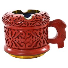 Vintage Chinese Cinnabar Lacquer Deep Carved Carving Ashtray Handle Mug Cup