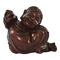 1930's Chinese Hard Wood Carved Man Buddha Immortal & Toad Statue Figurine