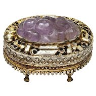 1930's Chinese Amethyst Carved Carving Plaque Gilt Silver Enamel Box Mk