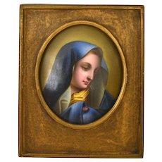 Antique Porcelain Frame Plaque Hand Painted Painting Madonna KPM Dresden Style