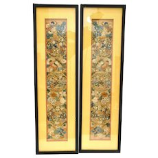 19C Pair of Chinese Framed Silk Embroidery Kids Figurine Screen Panel