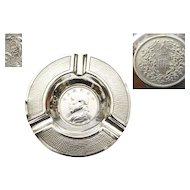 1913's Chinese Sterling Silver Yuan Dollar Coin Dish Plate Ashtray Mk 榮安銀 78G