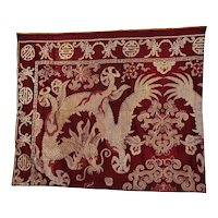 19C Chinese Aubergine Colr Brocade Silk Embroidery Dragon Panel Tapestry Textile