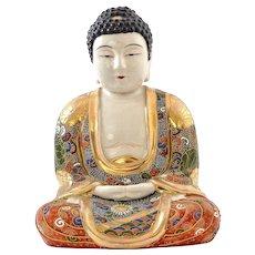 Japanese Kinkozan Moriage Satsuma Earthenware Buddha Daibutsu Figure Figurine Mk