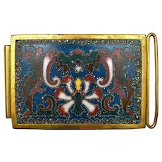 1900's Chinese Gilt Cloisonne Champleve Enamel Belt Buckle Bat Flower 83 Gram