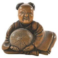 19C Japanese Wood Carved Carving Netsuke Karako Boy Carry Ball Figure Figurine