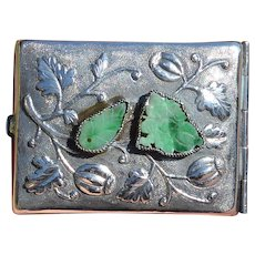 1930's Chinese Silver Jade Jadeite Rouge Compact Case Box