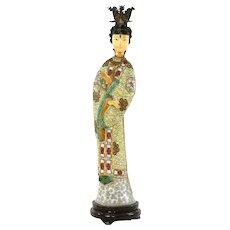 "Vintage Large Chinese Cloisonne Enamel Lady Statue Figure Figurine 14"" - AS IS"