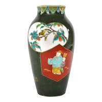 1930's Japanese Fukagawa Koransha Porcelain Vase Bamboo Crane Bird