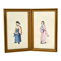 1930's Chinese 2 Frame Rice Paper Watercolor Painting Governor General His Wife
