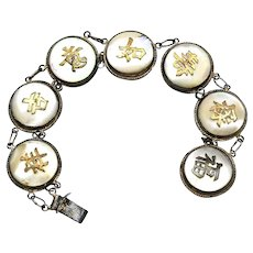 Vintage Chinese Sterling Silver Mother of Pearl Bracelet Marked