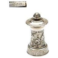 """1900's Chinese Sterling Silver Salt & Pepper Grinder Marked """"HW 90"""" Figurine"""