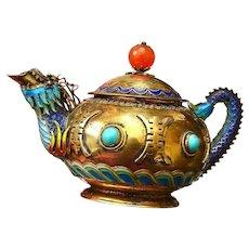 "Chinese Gilt Silver Enamel Turquoise Agate Carnelian Bead Dragon Teapot ""silver"""