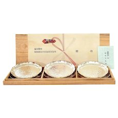 Set 6 Vintage Japanese Metal Tea Dish Tray Plate Original Wood Box