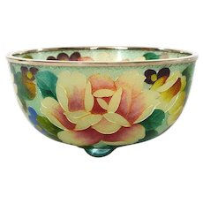 Old Japanese Plique a Jour Cloisonne Enamel Shippo Bowl with Flower