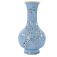 1930's Chinese Sky Blue Monochrome Porcelain Vase Plum Tree Blossom Mk