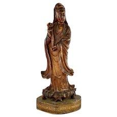 1900's Chinese Soapstone Carved Carving Kwan Quan Guan Yin Buddha Ruyi 32 CM