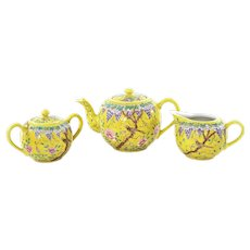 3 Pc Chinese Famille Rose Jaune Porcelain DAYAZHAI 大雅齋 Style Tea Teapot Set Mk