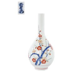 Japanese Arita Kakiemon the 14th Porcelain Bottle Vase Plum Blossom