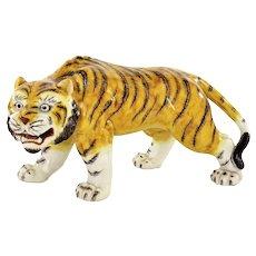 Old Japanese Kutani Porcelain Tiger Animal Figure Figurine Okimono Marked