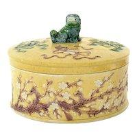1930's Chinese Sancai Relief Porcelain Plum Blossom Box Fu Foo Dog Lion Finial