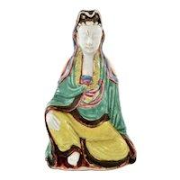 19C Chinese Sancai Famille Rose Porcelain Kwanyin Guanyin Kwan Yin Buddha Figure