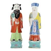 19C Chinese 2 Export Famille Rose Porcelain 8 Immortal Deity Figurine Figure