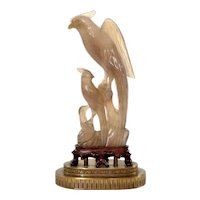 1930's Chinese Agate Carved Carving Bird Wood Stand Gilt Bronze Ormolu Lamp Base