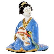 Japanese Kutani Porcelain Blue Kimono Geisha Figurine Figure Holding Dog Puppy