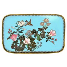 Meiji Japanese Cloisonne Enamel Shippo Gold Wires Tray Plaque Plate Flower Bird