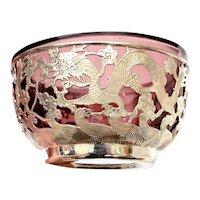 1930's Chinese Pierce Sterling Silver Dragon Purple Peking Glass Bowl Mk 北京足紋