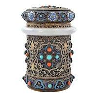 Chinese Silver Enamel Lavender Jade Jadeite Carved Bangle Bracelet Coral Turquoise Box