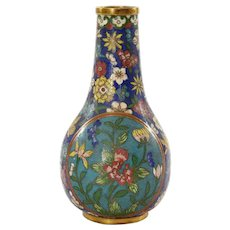 19th Century Chinese Gilt Cloisonne Enamel Vase with Flowers