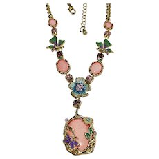 Pink and Blue Flower and Butterfly Necklace with Pretty Rhinestones