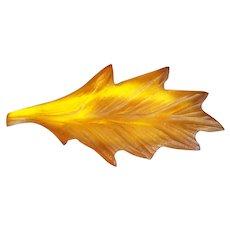 ALEXIS BITTAR signed Iridescent Lucite Hand Carved Gold Leaf Brooch