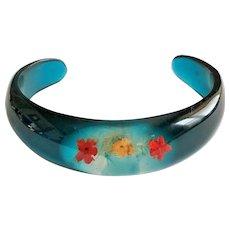 Blue Acrylic Cuff Bracelet with Pretty Dried Flowers