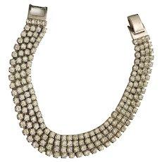 Multi Strand Clear Rhinestone and Silvertone Bracelet